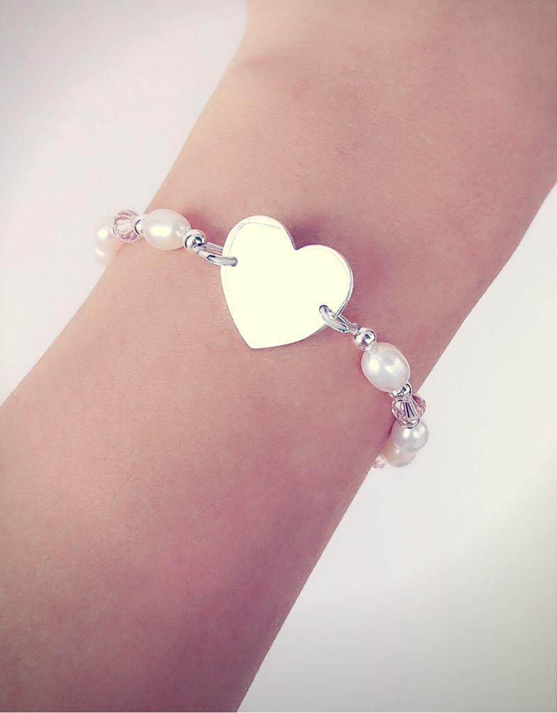 KAYA sieraden ★ SALE ★ Zilveren Parelarmband 'Sweetest met Gravure