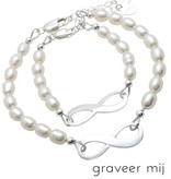 Infinity Bracelet silver 'forever' with Pearl - Copy - Copy