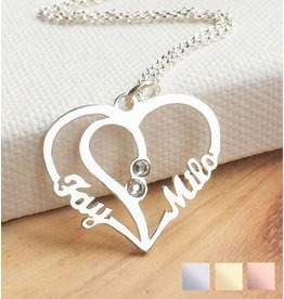 gravure L Silver Necklace 'Heart Shape with two birthstones'