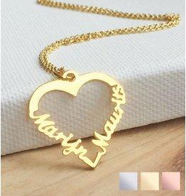 "Gegraveerde sieraden Silver heart-shaped necklace ""2 names'"