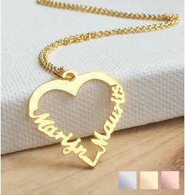 "gravure L Silver heart-shaped necklace ""2 names'"