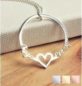 Gegraveerde sieraden Ketting met 2 namen 'Circle