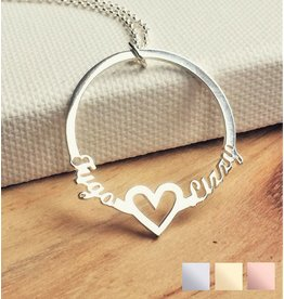 Gepersonaliseerd Necklace with 2 names 'circle'