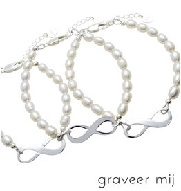 Infinity Bracelet silver 'forever' with Pearl - Copy - Copy - Copy