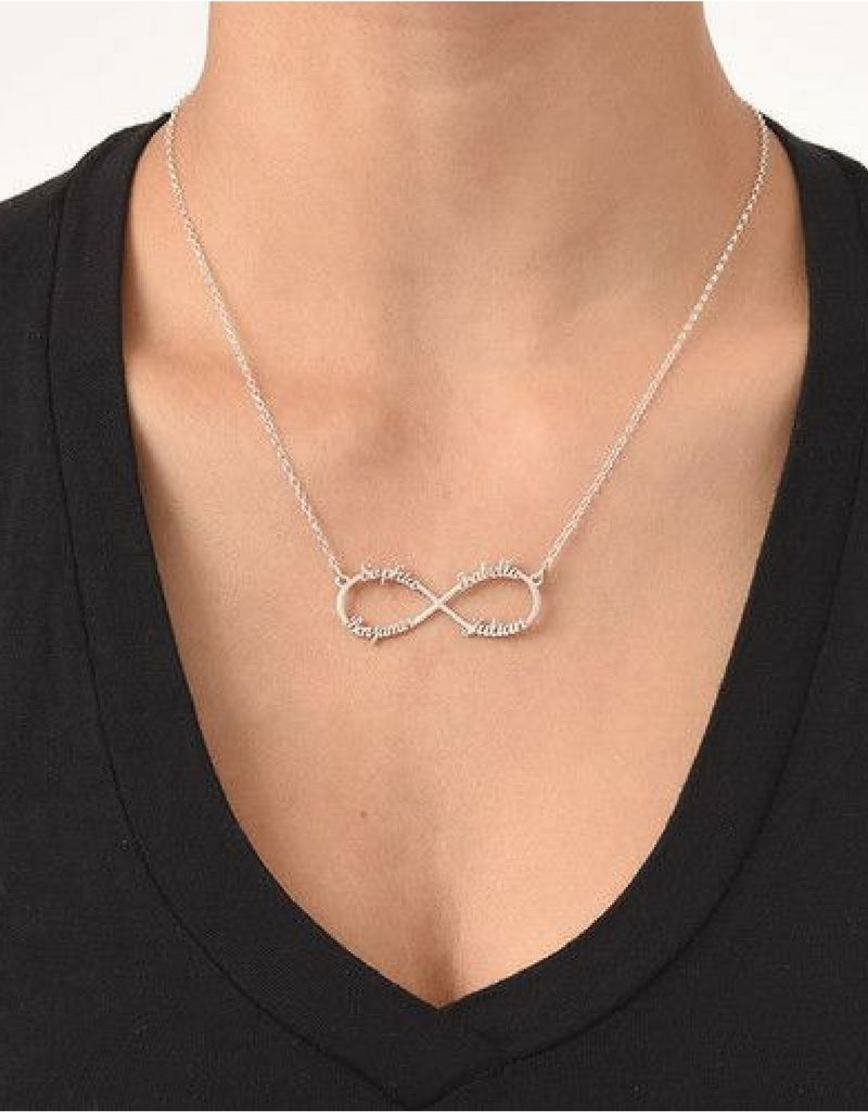 """Silver Infinity necklace 'four names, """"sweet mom gift! - Copy"""