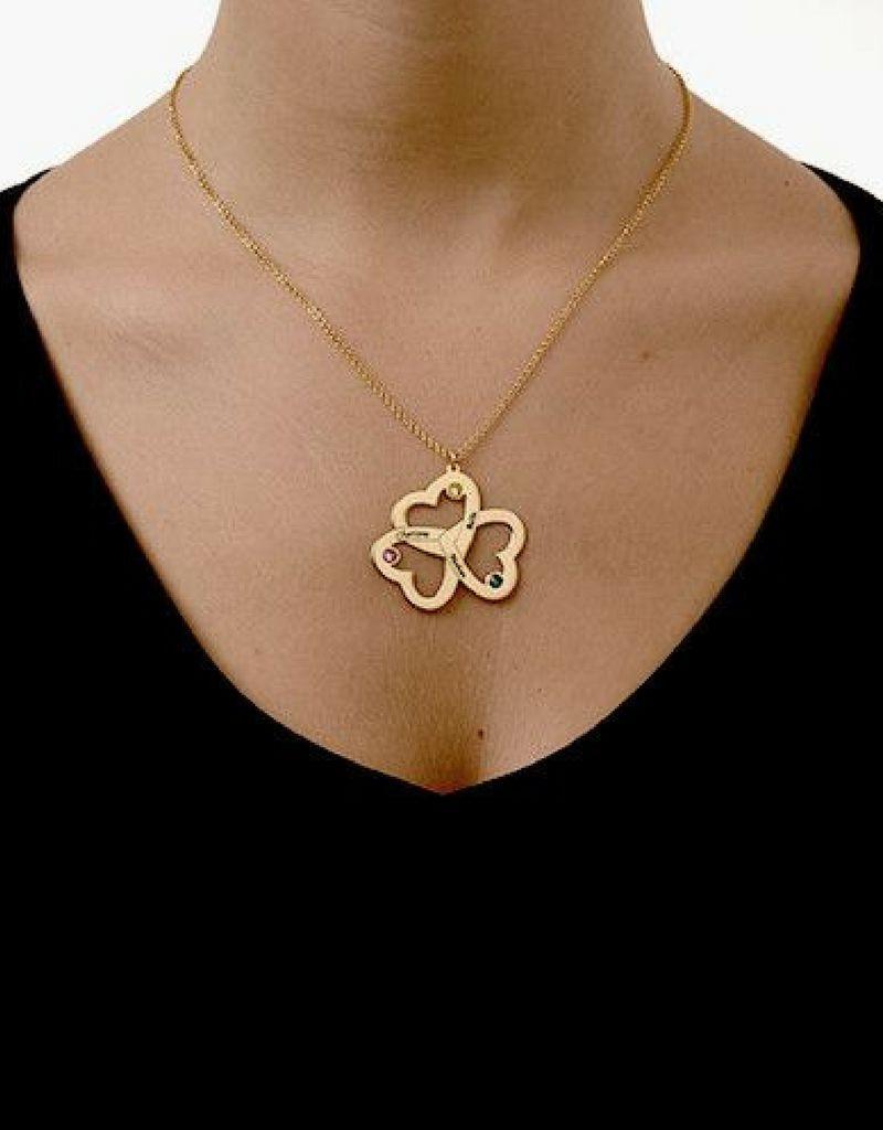 Silver Necklace 'Swarovski Birthstones three hearts'