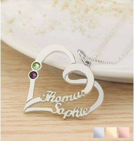 juwelierL Hartvormige ketting met geboortestenen