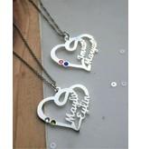 Gegraveerde sieraden Hartvormige ketting met 2 geboortestenen