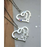 juwelierL Hartvormige ketting met 2 geboortestenen