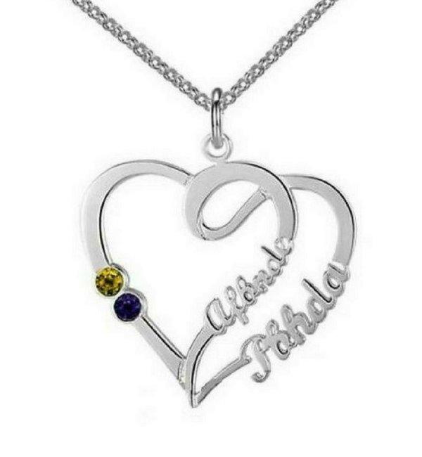 Gepersonaliseerde sieraden Gold Necklace 'Heart With 2 Birth Stones'