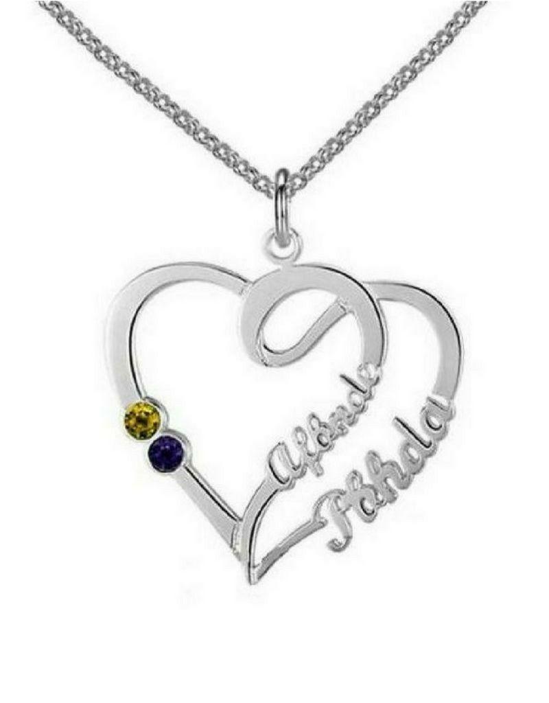 Gegraveerde sieraden Gold Necklace 'Heart With 2 Birth Stones'