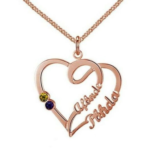 Gegraveerde sieraden Gold Necklace 'Heart With 2 Birth Stones'