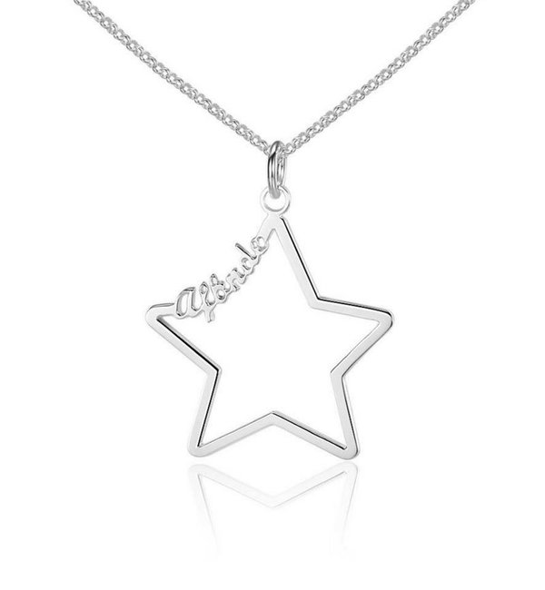 Gepersonaliseerde sieraden Necklace with 1 name 'star'
