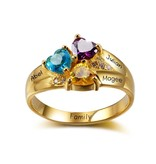Personalized ring with birthstones '3 kids'
