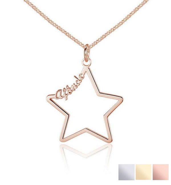 Sieraden graveren Necklace with 1 name 'star'