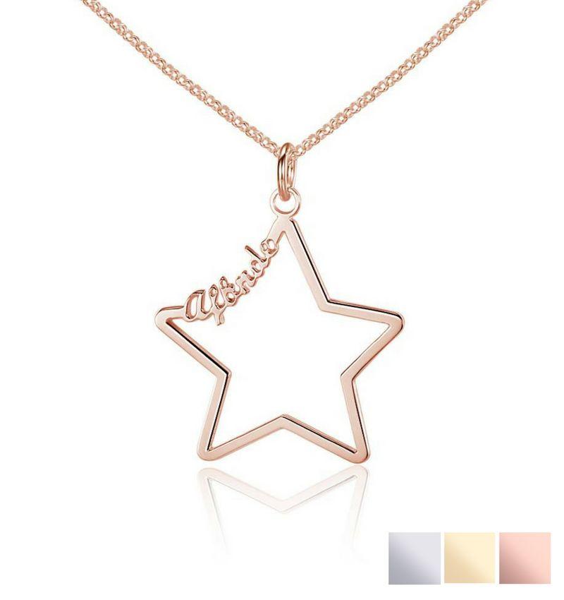 Gegraveerde sieraden Necklace with 1 name 'star'