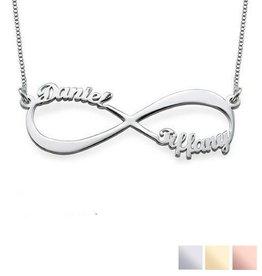 Gepersonaliseerde sieraden Infinity gold plated necklace 'Two names' - Copy