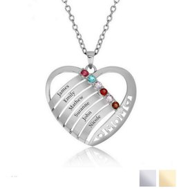 Gepersonaliseerde sieraden Birthstone necklace 'Family Heart'