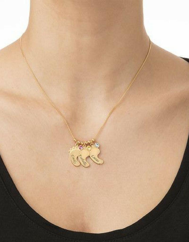 Gegraveerde sieraden Birthstone necklace 'Baby feet'
