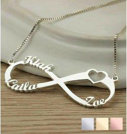 Gepersonaliseerd Infinity necklace 'Love my 3 kids'