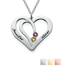 Gegraveerde sieraden Birthstone necklace 'Intertwined'