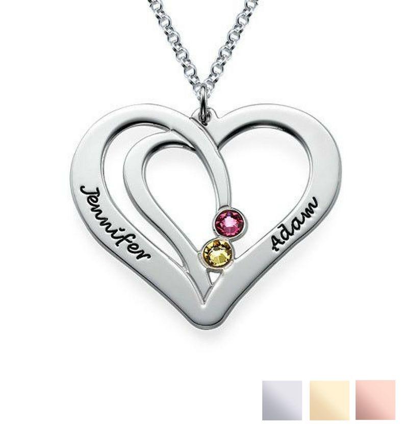 Gepersonaliseerd Birthstone necklace 'Intertwined'