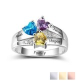Gepersonaliseerde sieraden Zilveren Gepersonaliseerde Ring 'Cherished' met Geboortestenen en Gravure