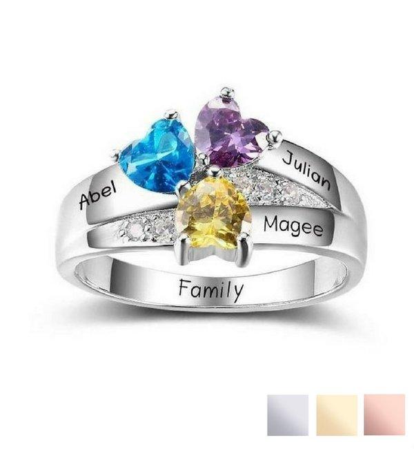 Gepersonaliseerde sieraden Geboortesteen ring 'Cherished'