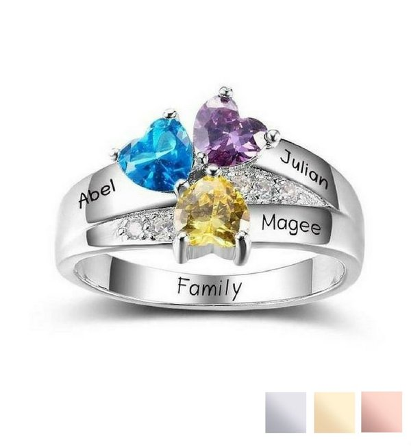 Gepersonaliseerde sieraden Personalized ring with birthstones '3 kids'
