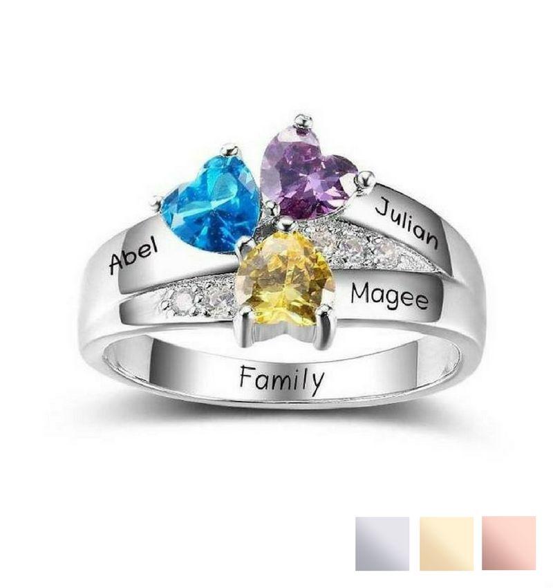 Gepersonaliseerde sieraden Personalized ring with birthstones '3 kids'
