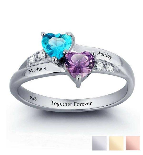 Gepersonaliseerde sieraden Zilveren Gepersonaliseerde Ring 'Beloved' met Geboortestenen en Gravure