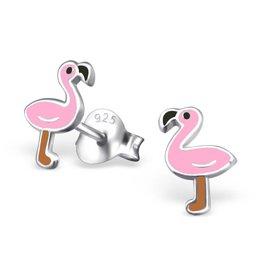 Zilveren kinderoorbellen Flamingo