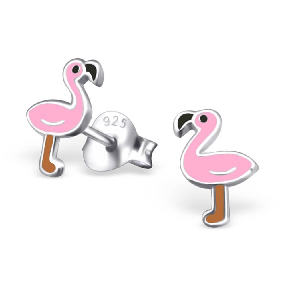 KAYA Zilveren kinderoorbellen 'Flamingo'