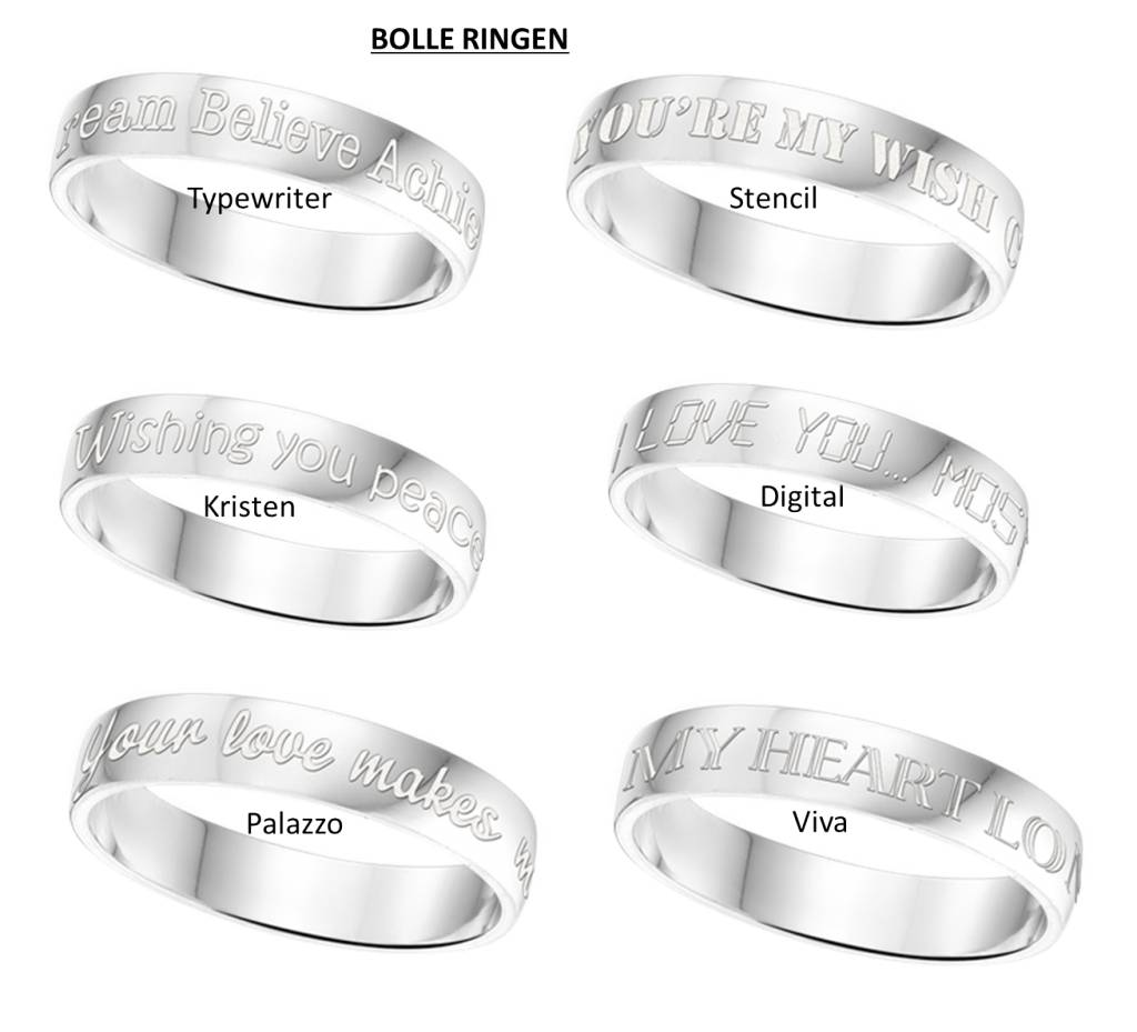 Text Silver Ring 4mm * free engraving *