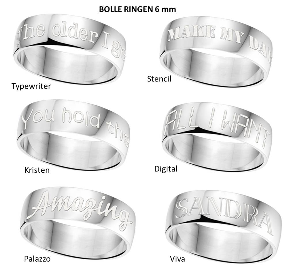 Text Silver Ring 6mm * Free engraving *