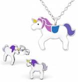 KAYA ★ SALE ★ Zilveren set 'Unicorn' paars/blauw met ketting en oorbellen