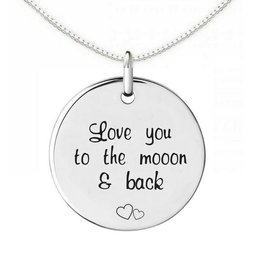 Zilveren Ketting 'moon and back'