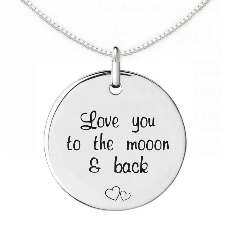 Zilveren Ketting 'Love you to the moon and back'