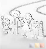 gravure L Necklace with children's drawing - silver