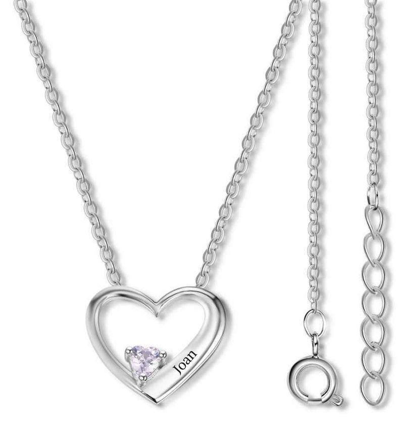 Gepersonaliseerde sieraden Heart chain with birthstone 'love'