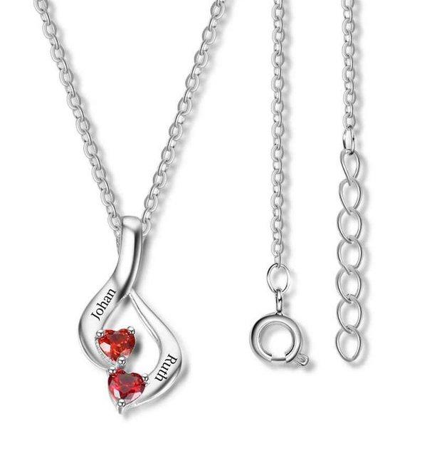 Gepersonaliseerde sieraden Necklace with birth stones 'two hearts'