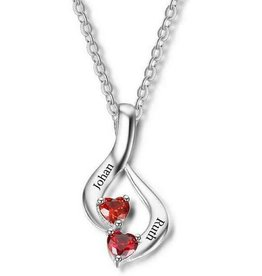 Gepersonaliseerde sieraden Necklace with birth stones 'two hearts'