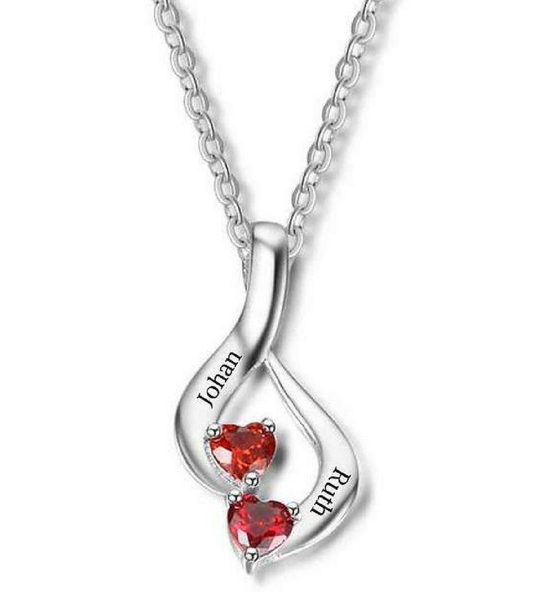 Gepersonaliseerde sieraden Zilveren Gepersonaliseerde Ketting 'Romantic' met Geboortestenen en Gravure