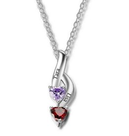 Gepersonaliseerde sieraden Necklace with birth stones 'hearts'