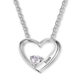 Gepersonaliseerde sieraden Heart chain with birthstone 'love'