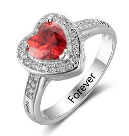 Gepersonaliseerd Ring with birthstone 'heart'