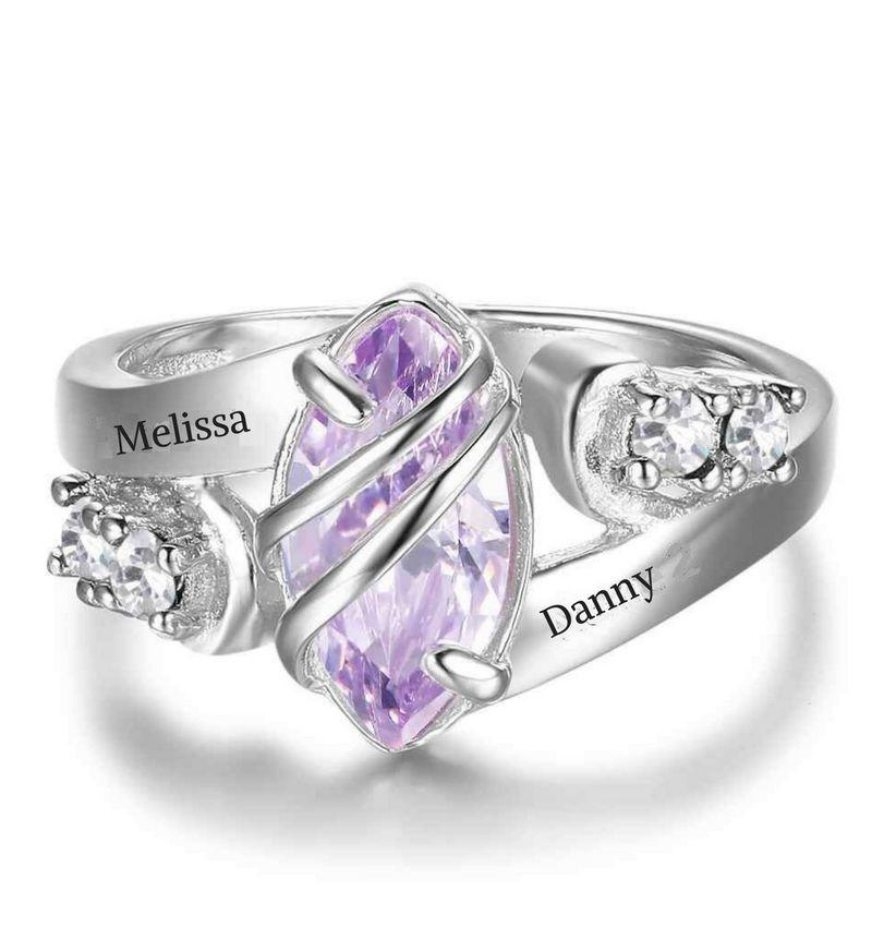 Gepersonaliseerde sieraden Silver ring with two names 'diamond'