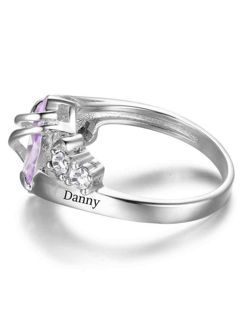 Gepersonaliseerde sieraden Zilveren Gepersonaliseerde Ring 'Jewels' met Geboortestenen en Gravure
