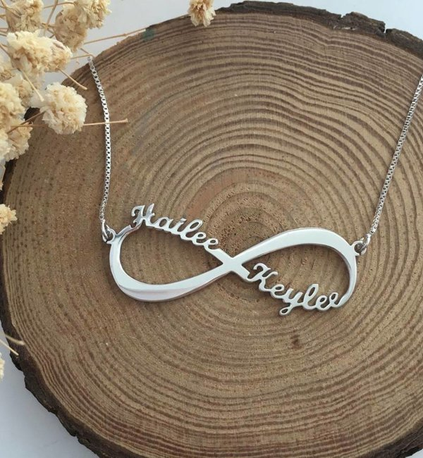Sieraden graveren Infinity gold plated necklace 'Two names' - Copy