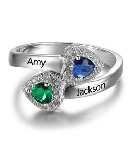 Gepersonaliseerde sieraden Silver ring with two birth stones 'shiny hearts'